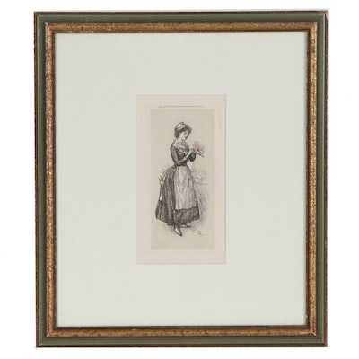"""John French Sloan Etching """"Mademoiselle Violette"""", 1904"""