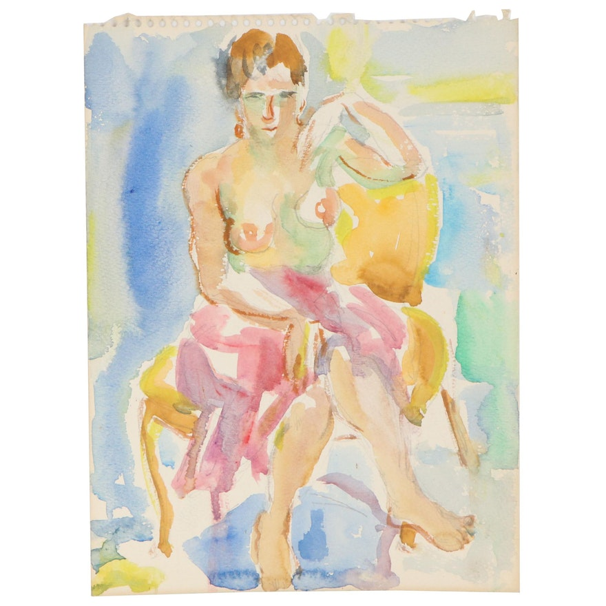 Yolanda Fusco Watercolor Painting of Seated Figure, Mid-Late 20th Century