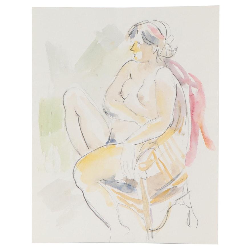 Yolanda Fusco Embellished Watercolor Painting, Late 20th Century