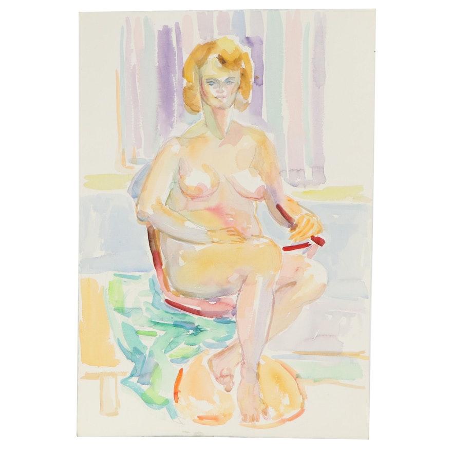 Yolanda Fusco Seated Nude Watercolor Painting, Late 20th Century
