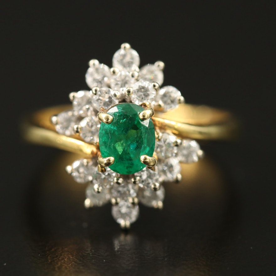 18K Emerald and Diamond Ring Featuring Bypass Design