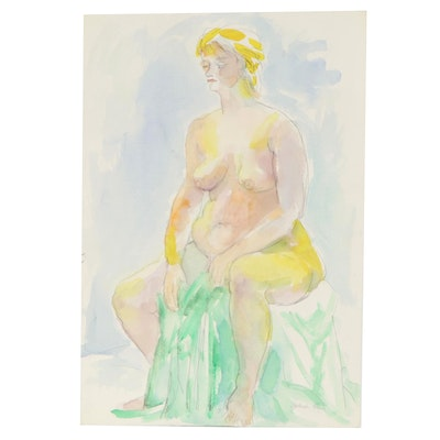 Yolanda Fusco Watercolor Painting of Seated Figure, Late 20th Century