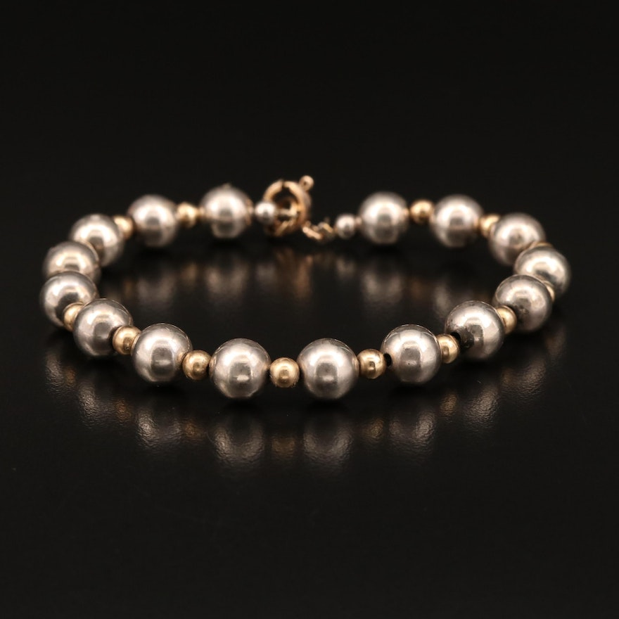 Round Bead Bracelet Featuring Sterling Silver Accents
