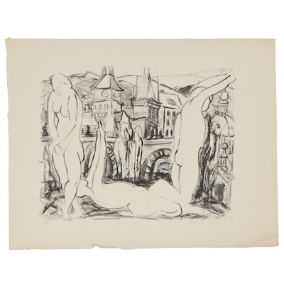 "Yolanda Fusco Figural Lithograph ""Prague Spring,"" Mid to Late 20th Century"