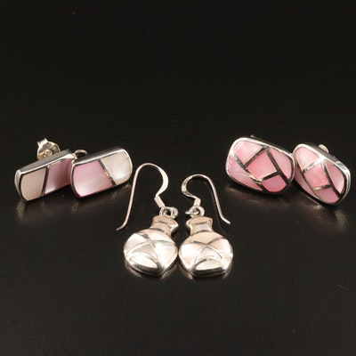 Sterling Mother of Pearl Inlay Earrings