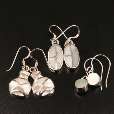 Selection of Sterling Silver and Mother of Pearl Inlay Earrings