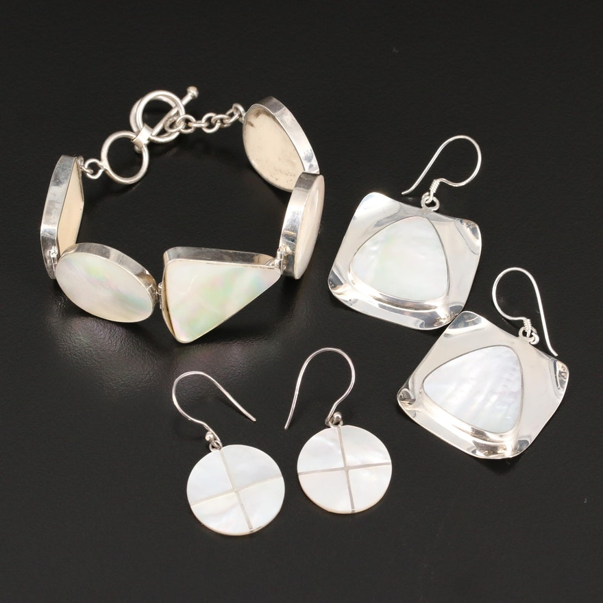 Sterling Silver Mother of Pearl Link Bracelet and Earrings