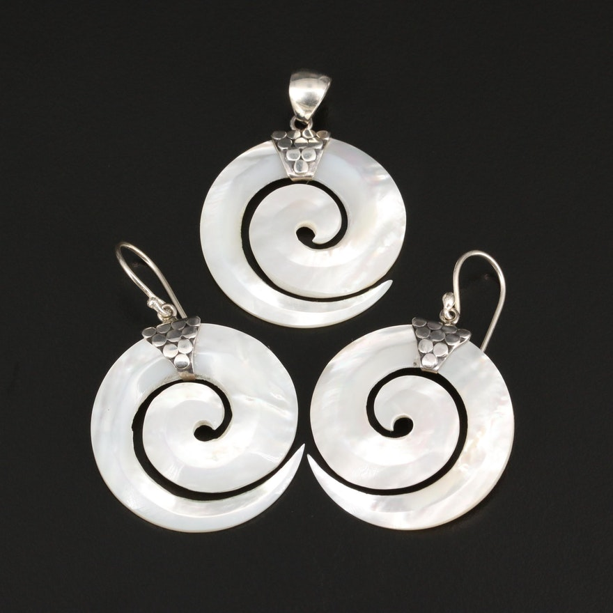 Sterling Silver Mother of Pearl Spiral Pendant and Dangle Earrings