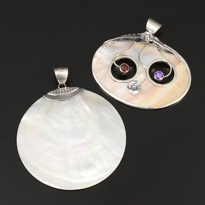 Sterling Pendants Including Shell and Panda Motif Cubic Zirconia