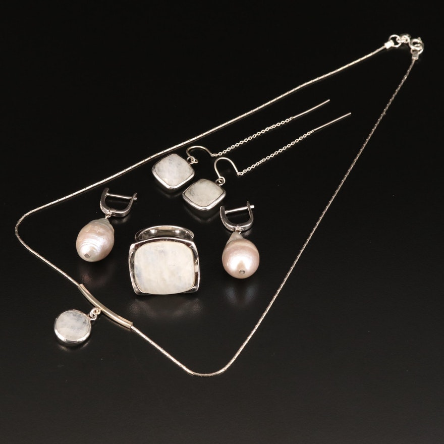 Assorted Sterling Silver Jewelry Featuring Moonstone, Pearl and Labradorite