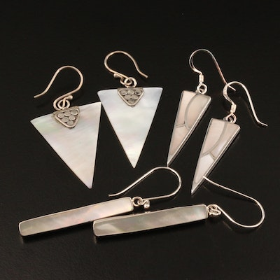 Selection of Sterling Silver Mother of Pearl Dangle Earrings