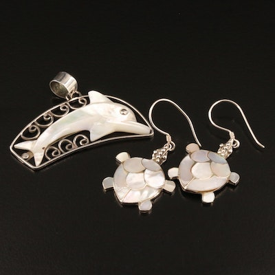 Sterling Mother of Pearl Dolphin Pendant and Turtle Earrings