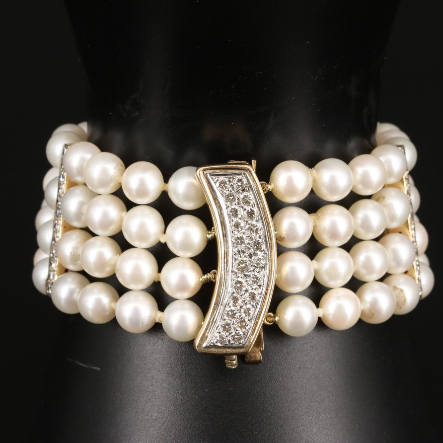 14K Multi-Strand Pearl and 1.30 CTW Diamond Bracelet