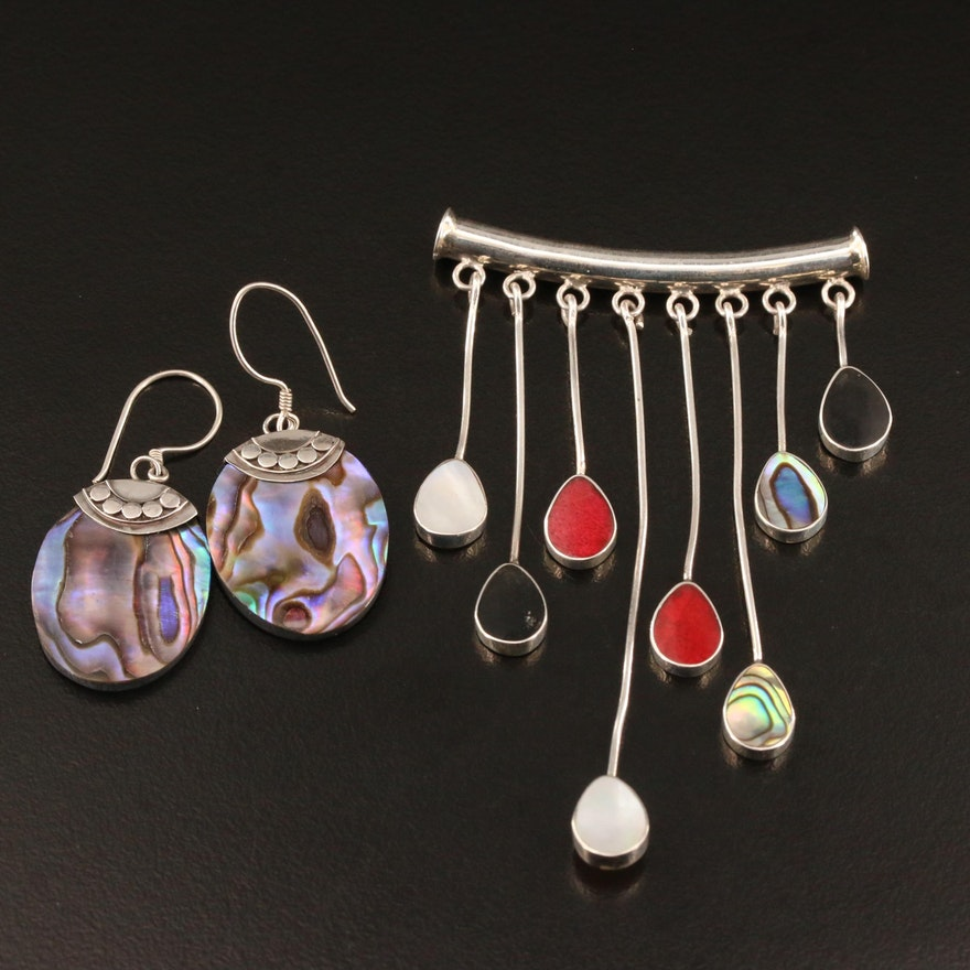 Sterling Slide Pendant and Dangle Earrings Including Abalone, Coral and More