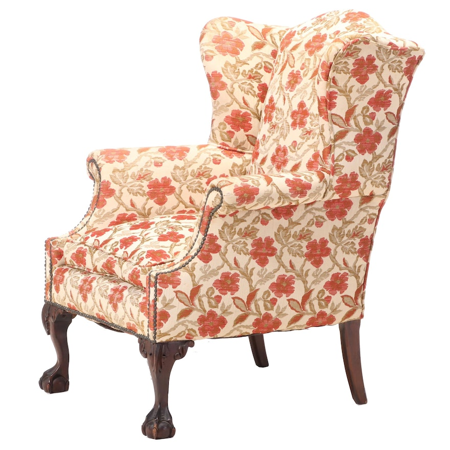 Pogue's of Cincinnati Chippendale Style Upholstered Mahogany Wingback Armchair