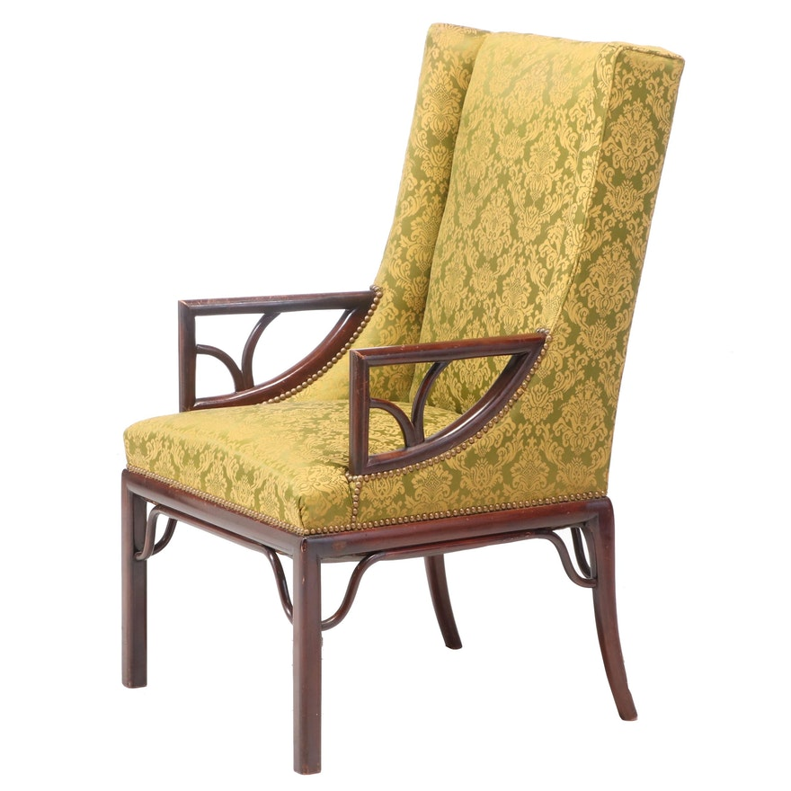 Mahogany-Stained and Damask-Upholstered Demi-Wing Armchair, 20th Century