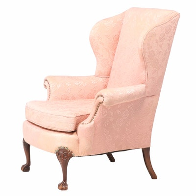 Chippendale Style Upholstered Mahogany Wingback Armchair, 20th Century
