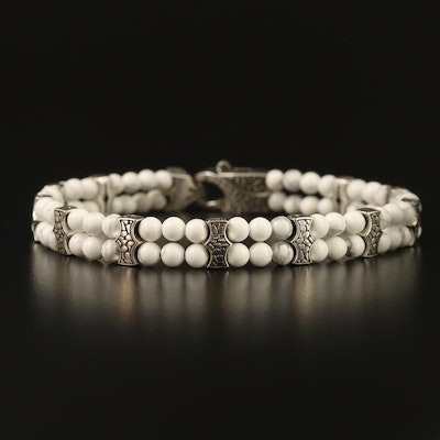 "Stephen Webster ""Rayman"" Sterling Howlite Double Strand Bracelet"