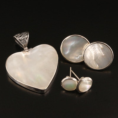 Sterling Silver Mother of Pearl Earrings and Heart Shaped Pendant