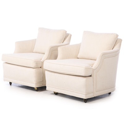 Pair of Upholstered Linen Armchairs on Casters