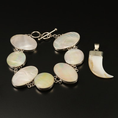 Sterling Silver Mother of Pearl Bracelet and Claw Pendant