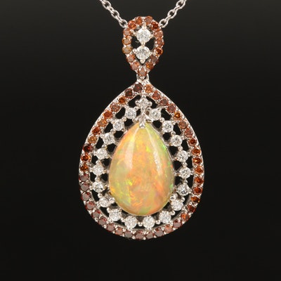 14K Opal and 2.33 CTW Diamond Teardrop Necklace