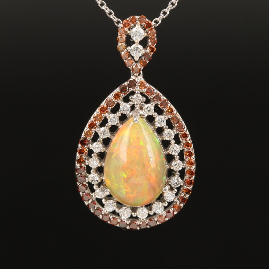 14K Opal and 2.33 CTW Diamond Teardrop Necklace