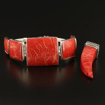 Sterling Silver Coral Link Bracelet and Tusk Pendant