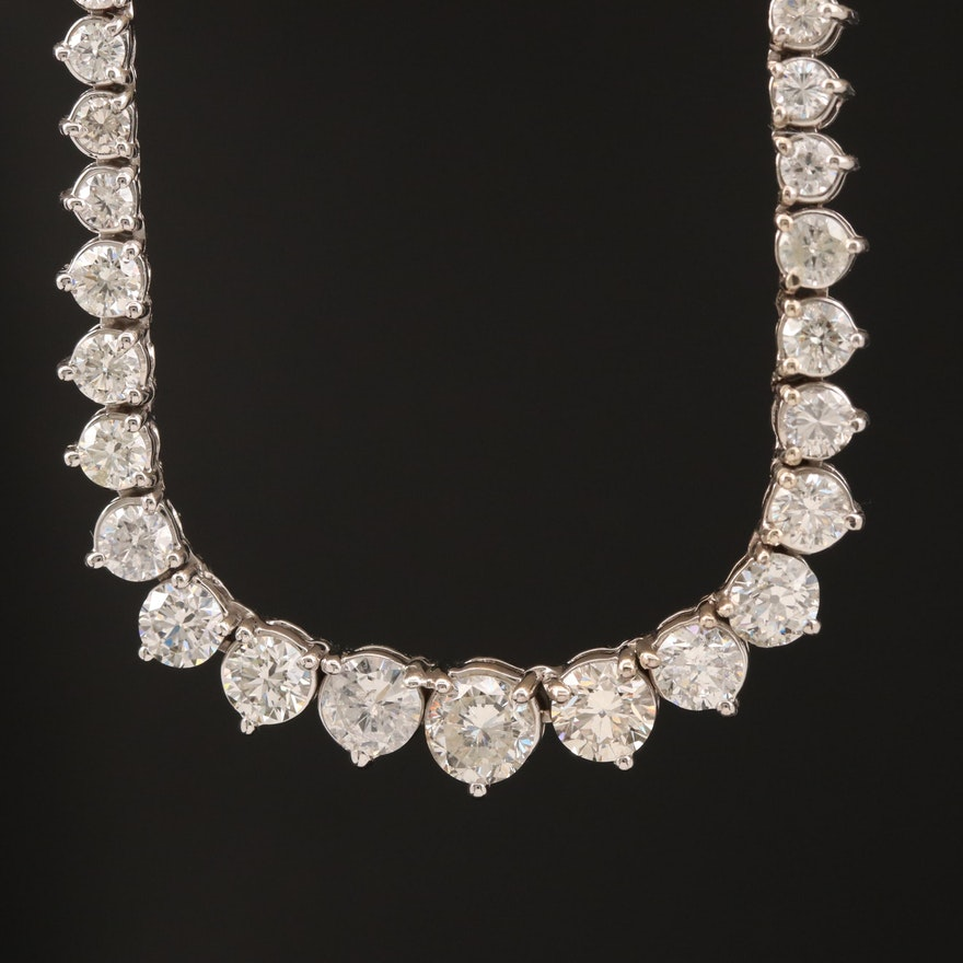 18K 10.17 CTW Diamond Graduated Rivière Necklace