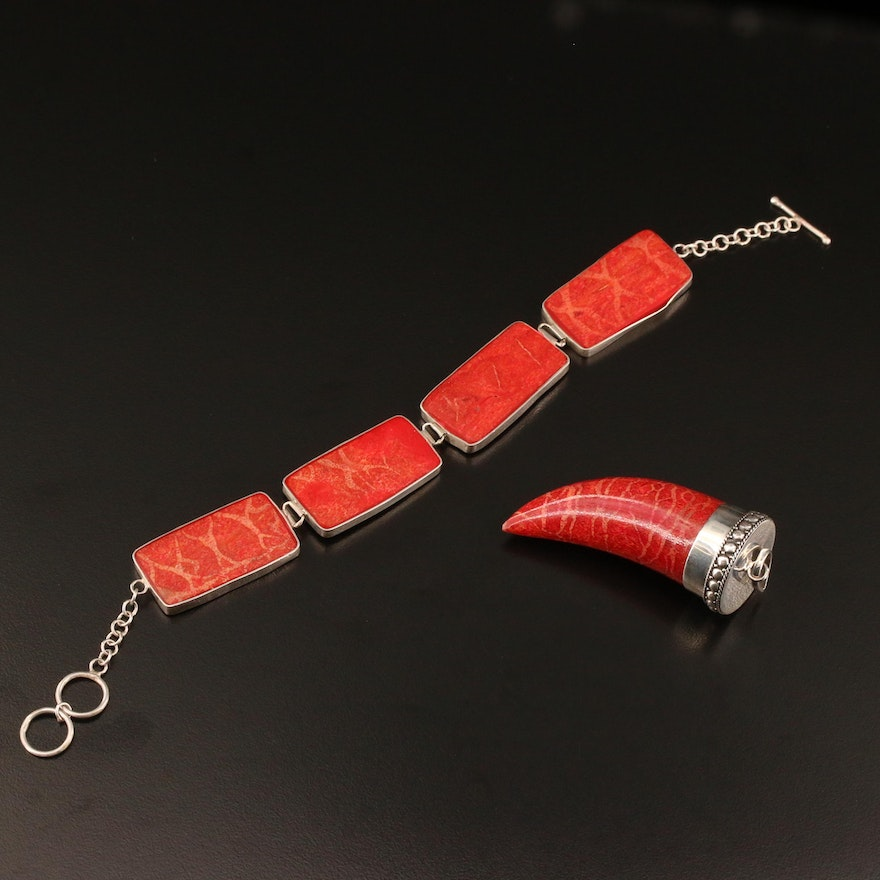 Sterling Silver Coral Link Bracelet and Fang Shaped Pendant