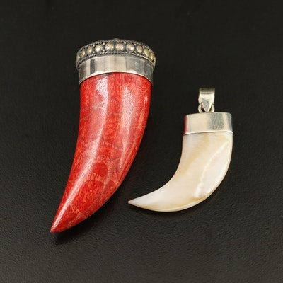 Sterling Silver Coral and Mother of Pearl Drop Pendants