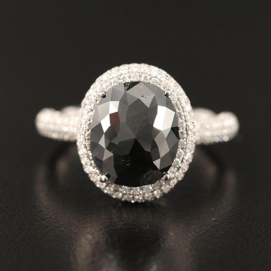 14K 3.37 CTW Diamond Ring with 2.63 CT Black Diamond