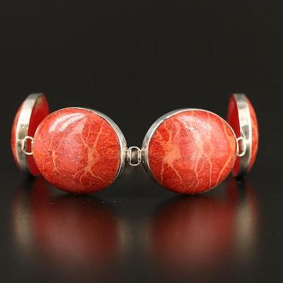 Sterling Coral Oval Link Bracelet