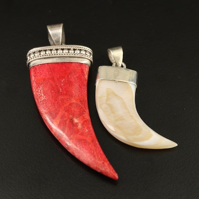 Sterling Silver Claw Shaped Coral and Mother of Pearl Pendants