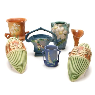 Roseville Pottery Vases and Pair of Ceramic Wall Pocket Vases