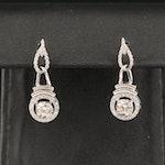 14K 1.80 CTW Diamond Halo Dangle Earrings
