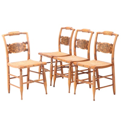 "Four L. Hitchcock Federal Style Gilt-Stenciled ""Fancy"" Side Chairs, 20th Century"