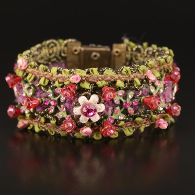 Woven Floral Thread Bracelet with Glass Accents