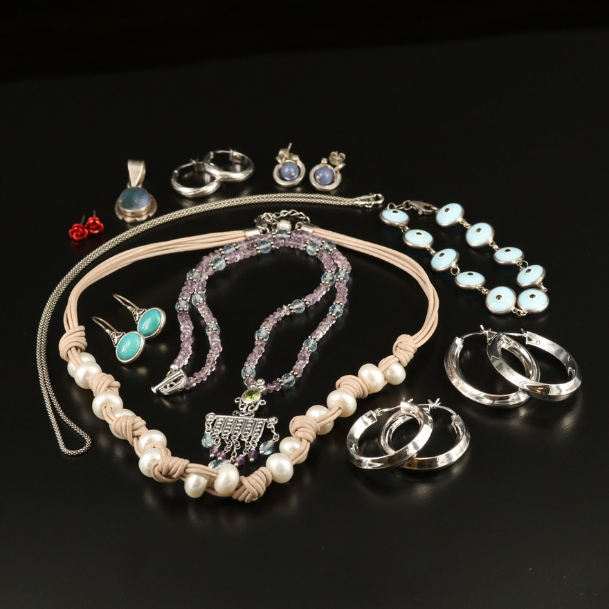 Assorted Sterling Jewelry Featuring Pearl, Peridot and Gemstones