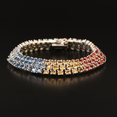 Sterling Sapphire Three Row Bracelet