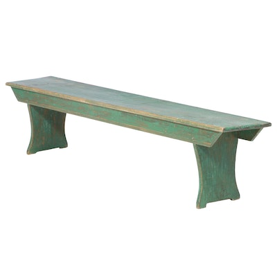 American Primitive Green-Painted Bench, 19th Century
