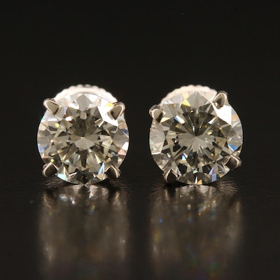 14K 2.64 CTW Diamond Stud Earrings with GIA Reports