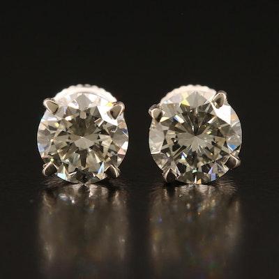 14K 2.64 CTW Diamond Stud Earrings with GIA Reports