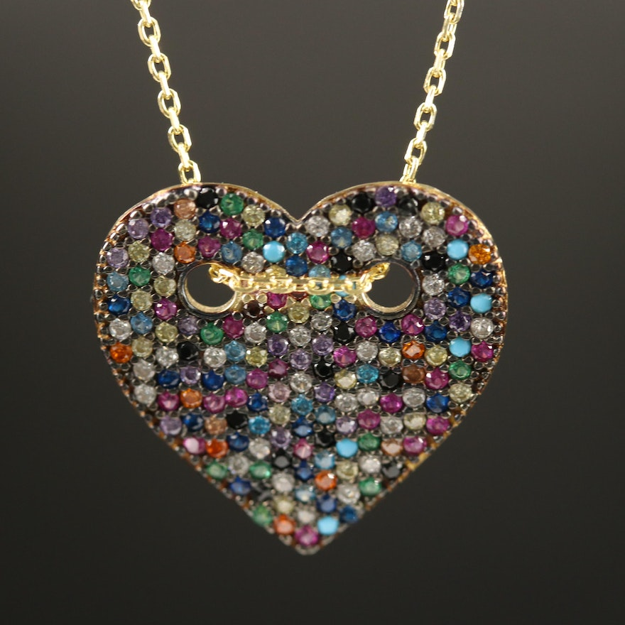 Sterling Pavé Cubic Zirconia Heart Pendant Necklace