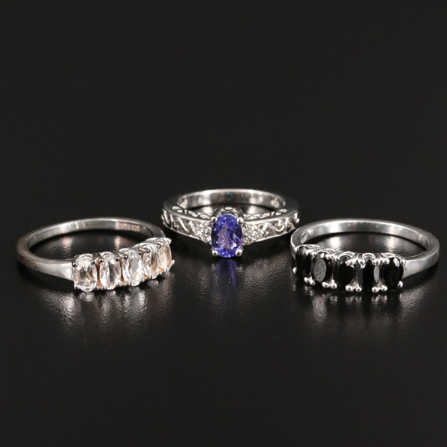 Sterling Silver Tanzanite, Spinel and Topaz Rings