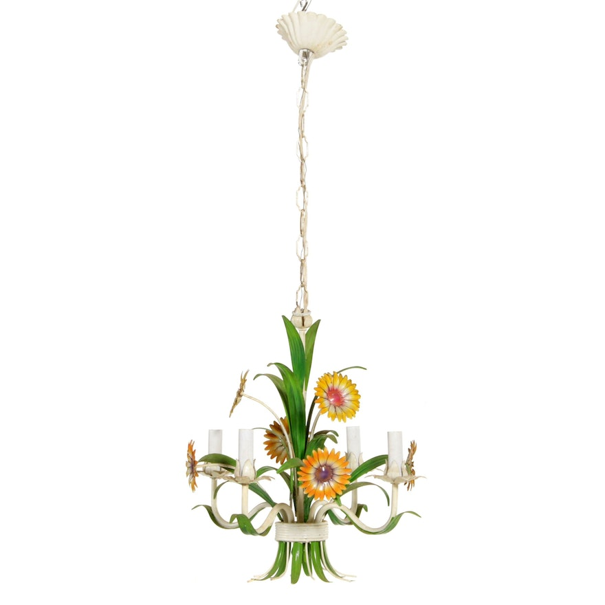 Toleware Flower Bouquet Chandelier, Mid-20th Century