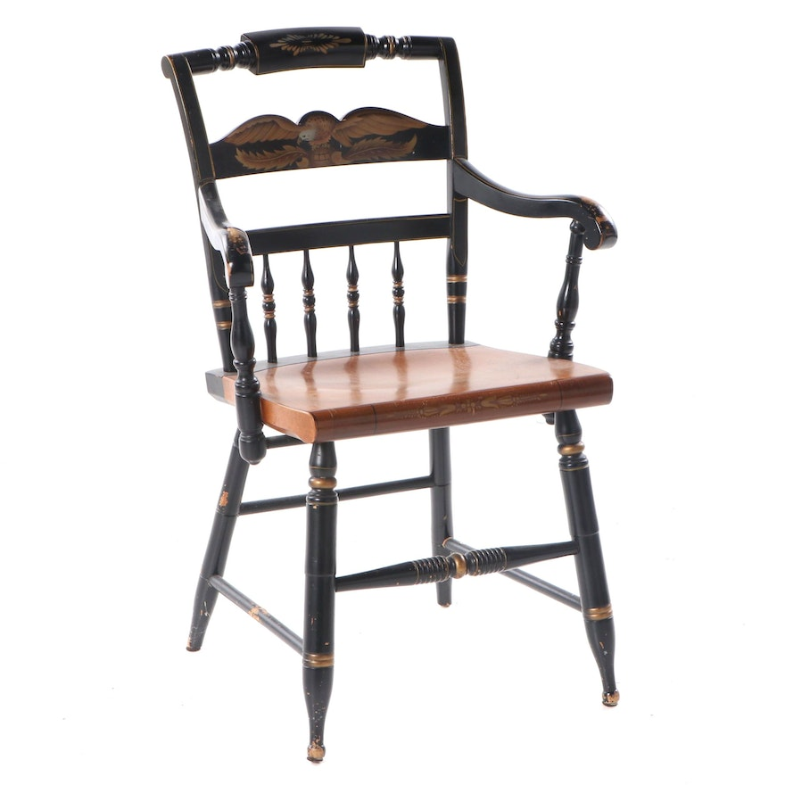"""L. Hitchcock Federal Style Parcel-Ebonized and Gilt-Stenciled """"Fancy"""" Armchair"""