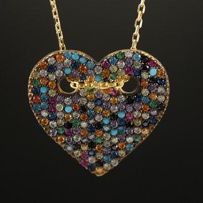Sterling Pavé Cubic Zirconia Heart Pendant Necklace