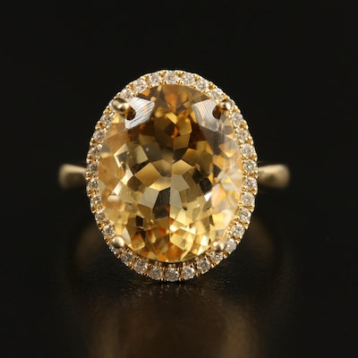 14K 8.00 CT Citrine and Diamond Ring