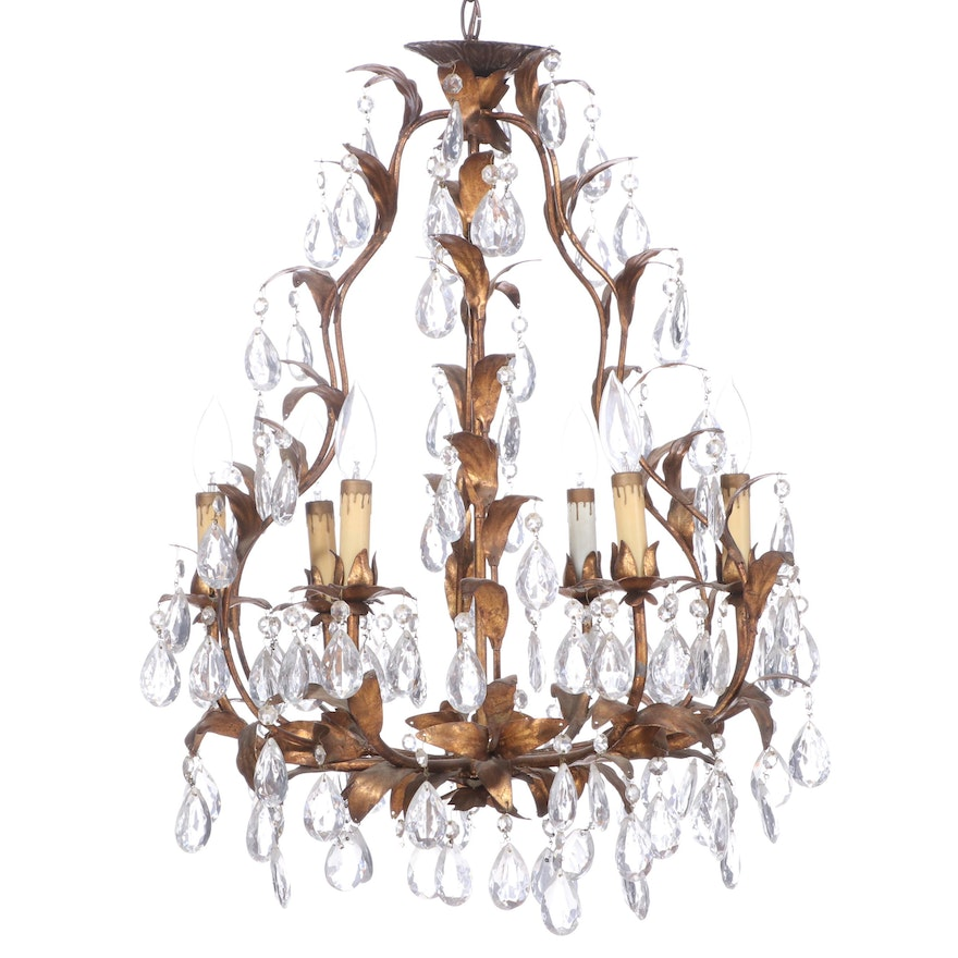 Italian Mid Century Style Metal and Crystal Candelabra Chandelier, Mid 20th C